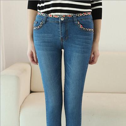 2015-Lace-Skinny-Women-font-b-Jeans-b-font-Sashes-Midweight-Cotton-Blue-Pencil-Pants-font
