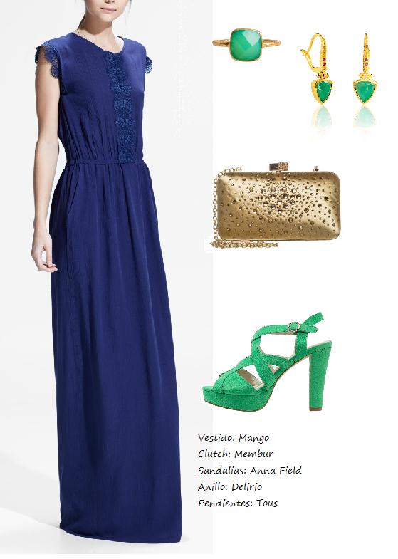 Look vestido azul marino para boda