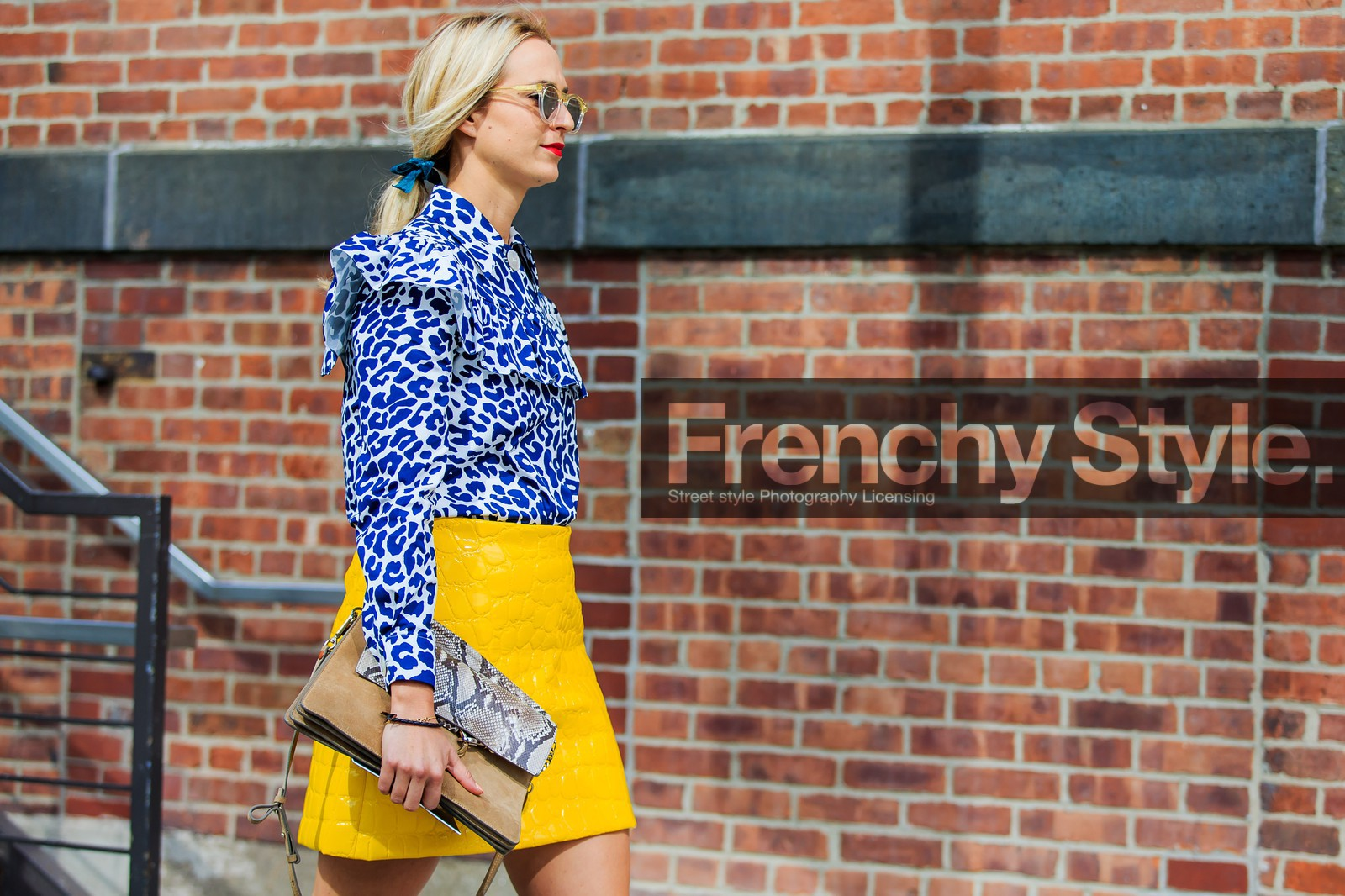 animal print, atmosphere details, blue, blue klein, camel bag, chloe, fashion week, frenchystyle, FW, horizontal, jonathan paciullo, leather bag, leather skirt, leopard, miu miu, navy, NEW YORK, NYFW, over the knee skirt, snake, SPRING SUMMER 2016, SS 16, street style, white, woman, yellow