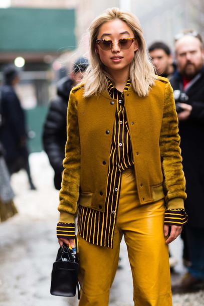 ti06fv-l-610x610-jacket-nyfw+2017-fashion+week+2017-fashion+week-streetstyle-mustard-yellow-yellow+jacket-yellow+pants-leather+pants-shirt-striped+shirt-bag-black+bag-sunglasses-cat+eye-monochrome+