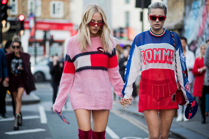 LONDON, ENGLAND - SEPTEMBER 19: Shea Marie and Caroline Vreeland outside Tommy Hilfiger during London Fashion Week September 2017 on September 19, 2017 in London, England. (Photo by Christian Vierig/Getty Images)
