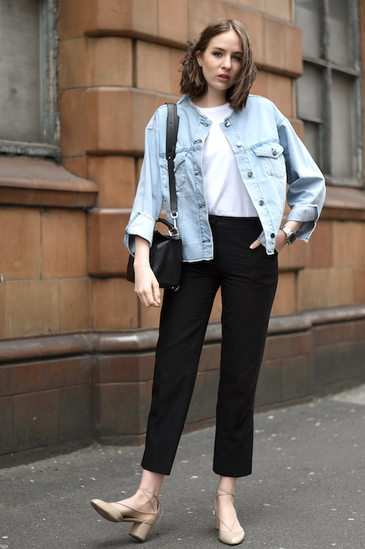 Le-Fashion-Blog-Casual-Chic-Blogger-Style-Jean-Jacket-White-Tee-Shirt-Loewe-Bag-Black-Cropped-Pants-Nude-Aquazurra-Lace-Up-Chunky-Heels-Via-Shot-From-The-Street