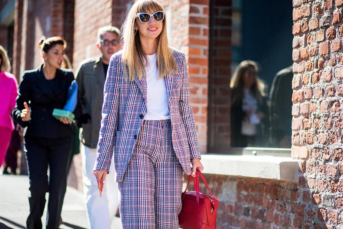 milan-fashion-week-street-style-spring-2018-lisa-aiken-joseph-plaid-suit-white-t-shirt-red-tibi-bag