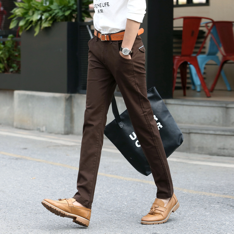 Mens-Slim-Chino-Soft-Denim-Stretch-Jeans-Pants-Dress-Elastic-Trouser-Male-Jeans-Brown-Black-Coffee