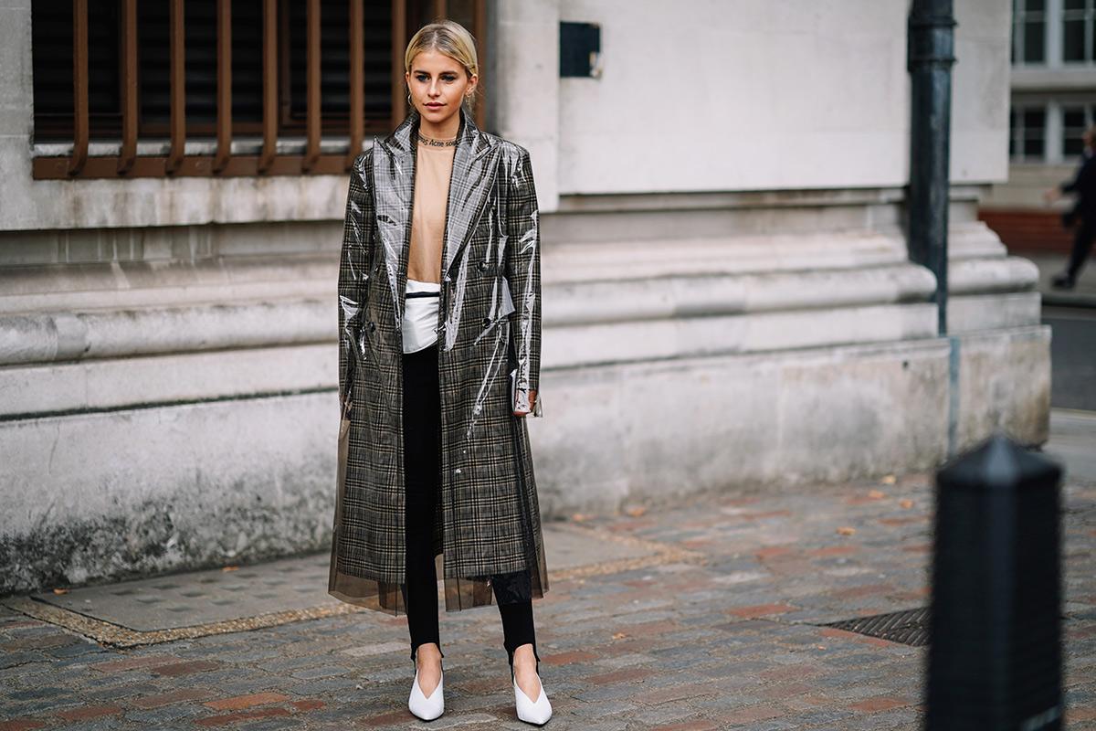 london-fashion-week-street-style-spring-2018-caroline-daur-calvin-klein-pvc-plaid-coat-stirrup-leggings-white-shoes-belt-bag