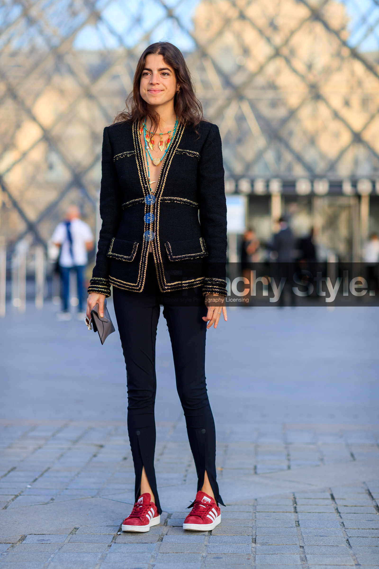 adidas, black jacket, black pants, blazer, fashion week, frenchystyle, full length, FW, graphic jacket, jonathan paciullo, leather shoes, necklace, PARIS, PFW, printed jacket, red sneakers, SPRING SUMMER 2018, SS 18, street style, trousers, tweed jacket, vertical, leandra medine