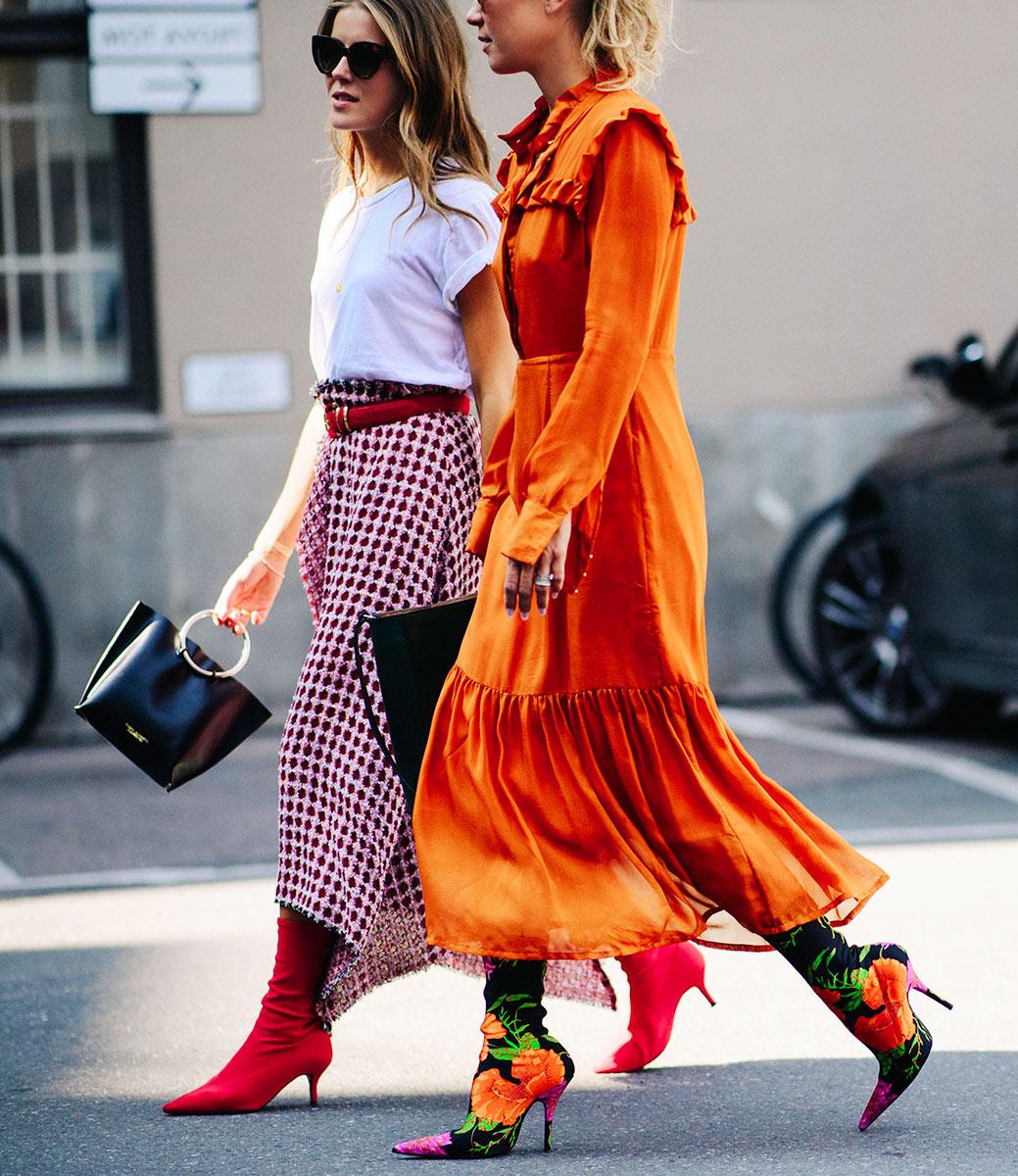 oslo-street-style-red-boots-sock-boots-asymmetrical-skirt-orange-dress-nina-sandbech-line-langmo
