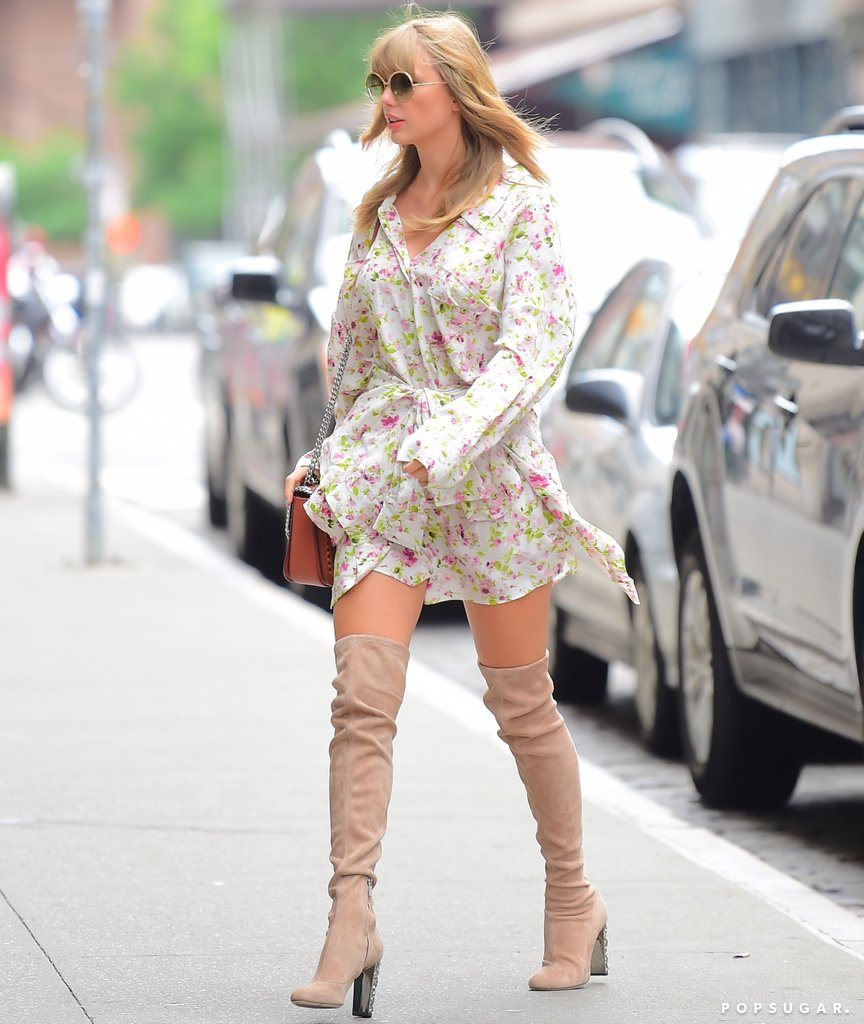 Taylor-Swift-Floral-Dress-Thigh-High-Boots