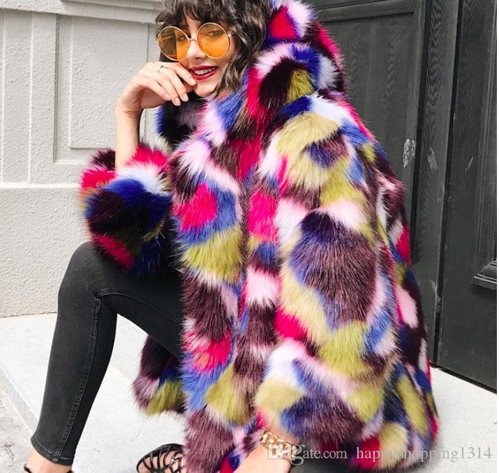 femmes-faux-fourrure-pardessus-color-arc